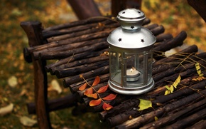 Картинка осень, листья, скамейка, природа, свеча, лавочка, фонарик, фонарь, лавка, скамья, Ikea
