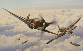 Картинка небо, облака, война, истребитель, бой, вираж, Арт, Messerschmitt, немецкий, советский, поршневой, одномоторный, Bf.109, Як-3, Яковлев, …