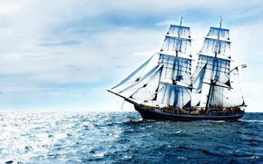 Картинка море, небо, облака, океан, корабль, парусник