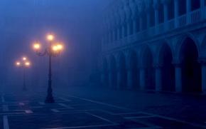 Venice, Italy, Piazza San Marco, площадь Сан-Марко, Венеция, Италия, фонари, освещение, свет, город, вечер, туман обои