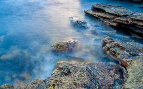 Обои берег, вода, камни