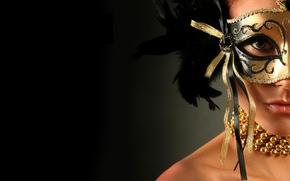 Картинка взгляд, девушка, украшения, фон, черный, модель, перья, макияж, маска, шея
