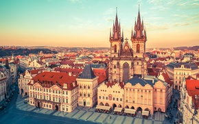 Картинка дома, Прага, Чехия, площадь, башни, храм, солнечно, улицы, Староместская площадь, Тынский храм
