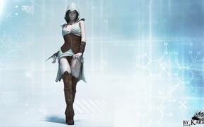 Картинка взгляд, девушка, рендеринг, Assassin, ассасин