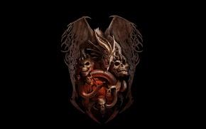 Картинка фентези, настроение, дракон, череп, змея, арт