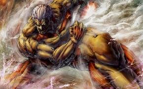 Картинка арт, титан, бронированный, атака титанов