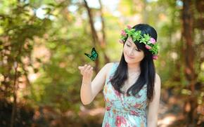 Картинка настроение, бабочка, девушка