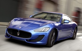Картинка Maserati, Дорога, Синий, Спорт, Машина, Движение, Машины, Мазерати, Car, Автомобиль, Cars, Blue, GranTurismo, Sport, Автомобили, …