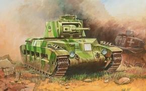 Картинка арт, танк, британский, british, средний, tank, WW2., пехотный, Matilda II, Матильда II, infantry