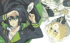 Картинка руки, вампир, плащ, друзья, зеленые глаза, военная форма, Yuuichirou Hyakuya, Michaela Hyakuya, Последний серафим, Owari …