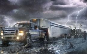 Обои ковчег, молния, животные, машина