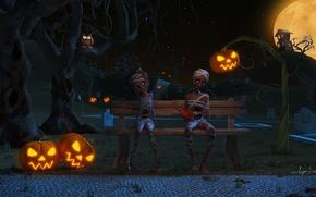 Картинка скамейка, ночь, дом, луна, могилы, мальчик, арт, лавочка, девочка, фонарь, тыквы, Хэллоуин, валентинка, Helloween, мумия, ...