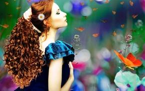 Картинка девушка, бабочки, цветы, лицо, волосы, макияж, арт, профиль, рыжая, кудри, синее платье