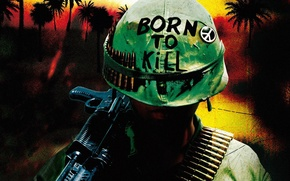 Обои War, Helmet, Weapon, Marines, Full Metal Jacket, Born to Kill, Soldier, Vietnam, Bullets