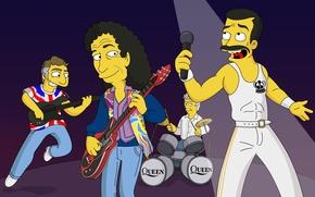 Картинка группа, симпсоны, Queen, Freddie Mercury, The Simpsons, Фредди Меркьюри