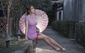 Картинка девушка, зонт, азиатка