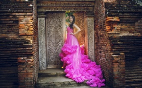 Картинка девушка, стиль, платье, азиатка