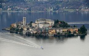 Обои италия, озеро орта, остров сан-джулио