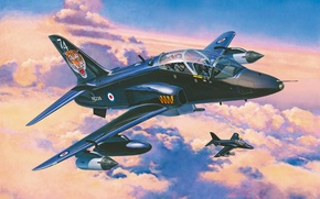 Картинка war, art, airplane, aviation, jet, paintig, BAe Hawk T.1A