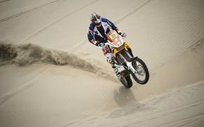 Картинка Песок, Гонка, Мотоцикл, Гонщик, Rally, Dakar