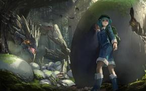 Картинка лес, девушка, деревья, природа, дракон, яйца, аниме, арт, touhou, kawashiro nitori, kaatoso
