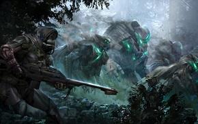 Картинка оружие, войны, армия, concept art, Destiny, маска, робот, лес
