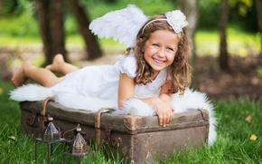 Картинка трава, радость, девочка, чемодан, фонарики