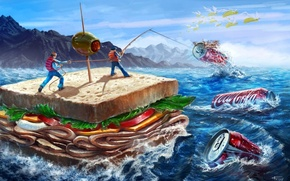 Обои море, люди, кукуруза, оливка, рыбаки, бутерброд, coca-cola, кока-кола, сэндвич