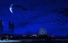 Обои Night, GTA V, city, город, луна, сан андрес, Los Santos, grand theft auto v, ночь, ...