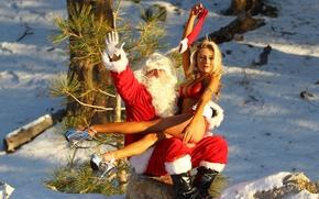 Картинка девушка, снег, одежда, ёлка, дед мороз, красная