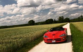 Картинка поле, облака, красный, природа, Dodge, Viper, додж, вайпер, SRT 10