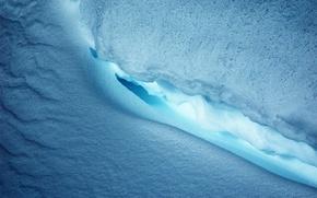 Обои лед, синий, Снег