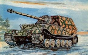 Картинка дорога, война, арт, установка, Sd.Kfz.184, Ferdinand, самоходно-артиллерийская, немецкая, тяжёлая, Фердина́нд