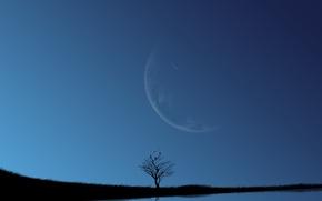 Обои небо, озеро, луна, синь