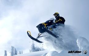 Картинка снег, прыжок, спорт, sport, snow, снегоход, snowmobile, ski-doo, brp, skidoo, adrenaline, renegade