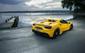 Обои wallpapers, Rosso, yellow, автомобиль, Novitec, Ferrari, задок, 488, Spider, причал, car, небо, желтый