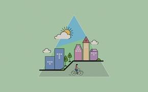Картинка лето, город, улица, дома, design, flat