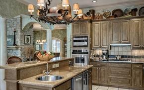 Картинка стол, мебель, кухня, шкафы
