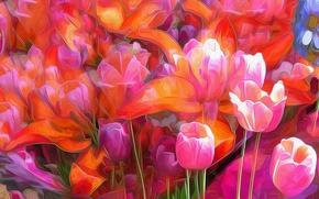 Обои рендеринг, лепестки, сад, клумба, абстракция, тюльпаны