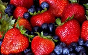 Картинка клубника, ягода, чёрная, смородина