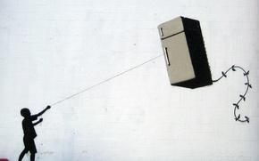 Обои Banksy, Fridge Kite, Graffiti