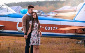 Картинка девушка, парень, самолёт, Love Story