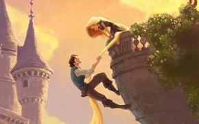 Обои башня, рапунцель, длинные волосы, tangled, флин, балкон