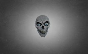 Картинка глаза, зеленый, череп, голова, маска, скелет, темноватый фон