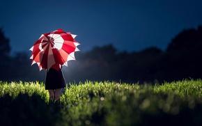 Картинка поле, девушка, свет, зонт, платье, силуэт