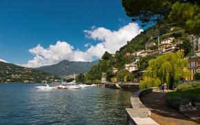 Картинка пристань, Италия, катера, набережная, Italy, озеро Комо, Ломбардия, Комо, Como, Lombardy, Lake Como