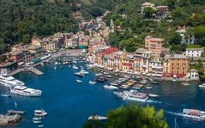 Картинка Италия, Портофино, дома, панорама, бухта, море, яхты, лодки, пейзаж