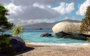 Картинка песок, море, деревья, холмы, камень, корабль, арт, klontak