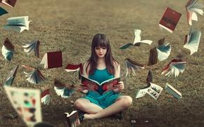 Обои фон, девушка, книги