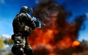 Обои оружие, Battlefield 4, солдат, фон, огонь